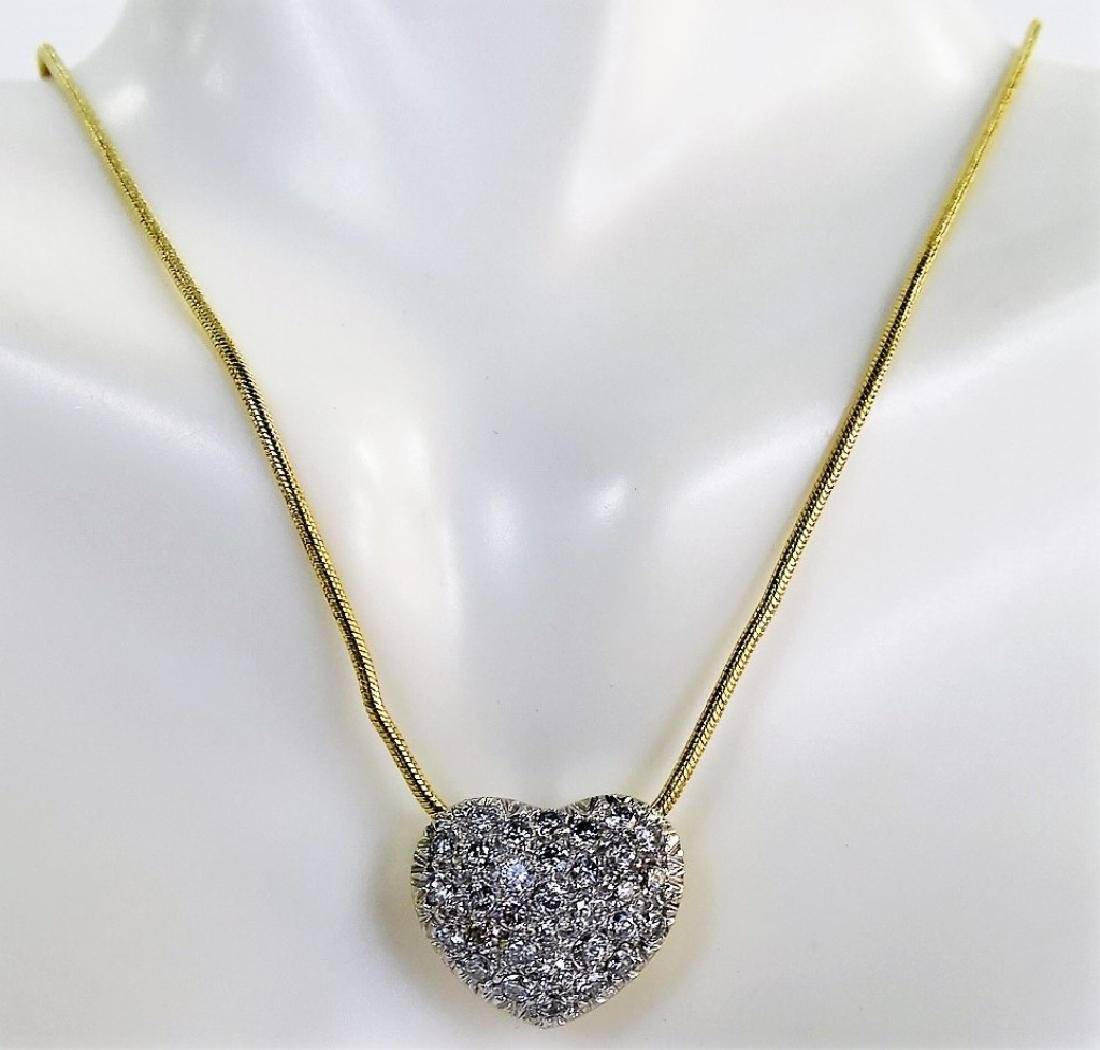 14KT Y GOLD 1 1/2 CT DIAMOND HEART NECKLACE - 2