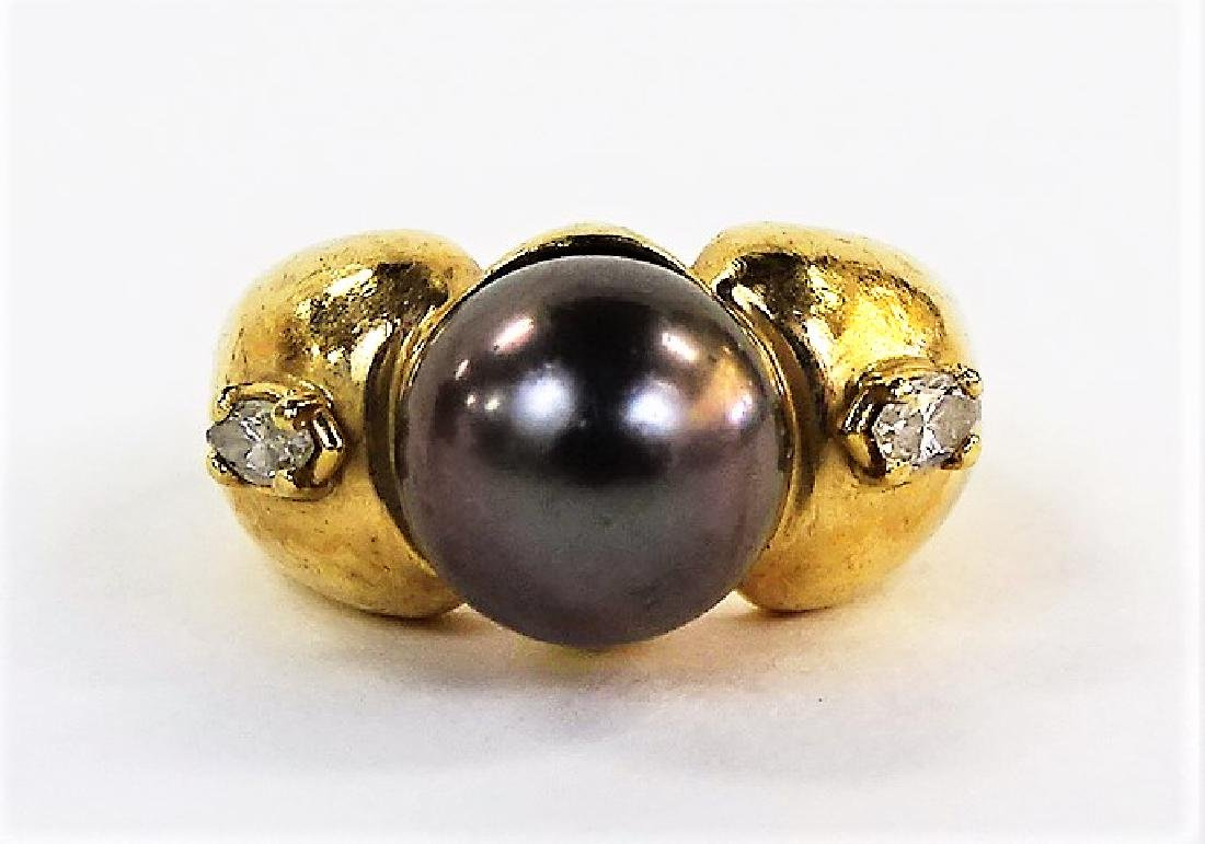 HEAVY 14KT Y GOLD SOUTH SEA PEARL & DIAMOND RING