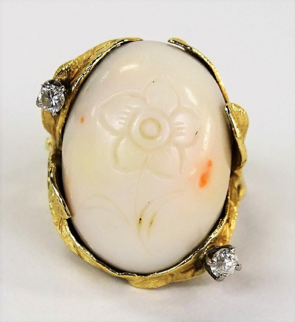 ESTATE 14KT GOLD ANGEL SKIN CORAL & DIAMOND RING