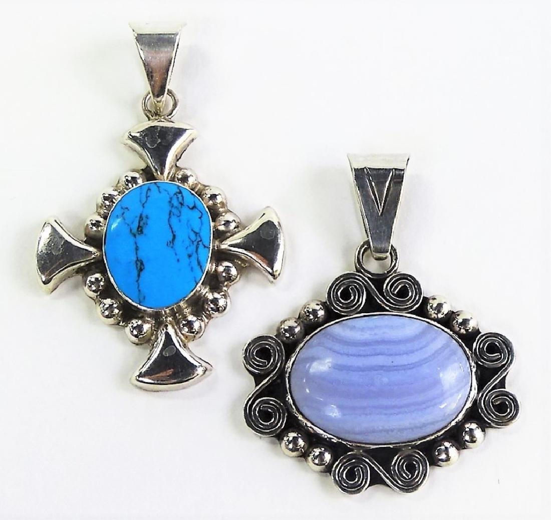 PR VTG MEXICAN STERLING & STONE NECKLACE PENDANTS