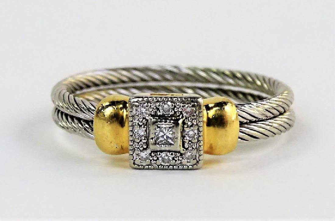 PHILIPPE CHARRIOL 18KT YG & STAINLESS CABLE RING