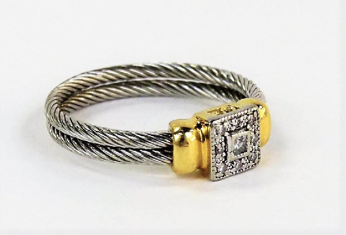 PHILIPPE CHARRIOL 18KT YG & STAINLESS CABLE RING - 2