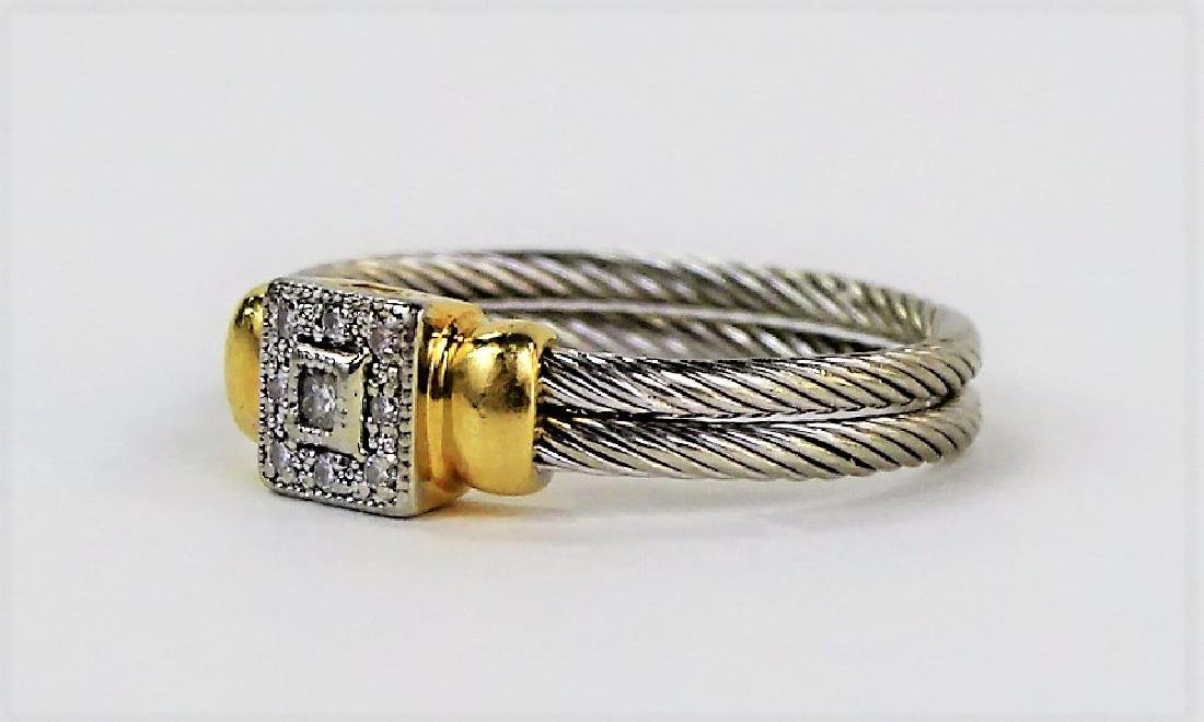 PHILIPPE CHARRIOL 18KT YG & STAINLESS CABLE RING - 3