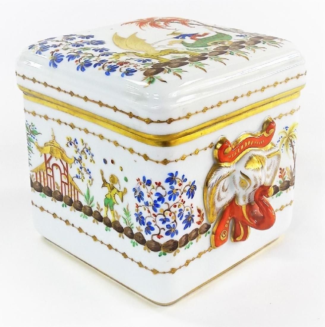 TIFFANY SEVRES STYLE ORIENTALIST PORCELAIN BOX