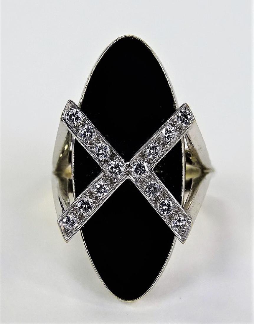 ESTATE RETRO 18KT WG BLACK ONYX & DIAMOND X RING