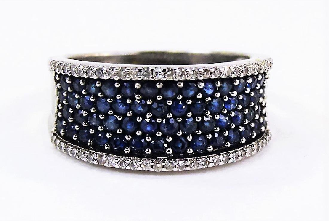 ESTATE 14KT WHITE GOLD DIAMOND & SAPPHIRE BAND