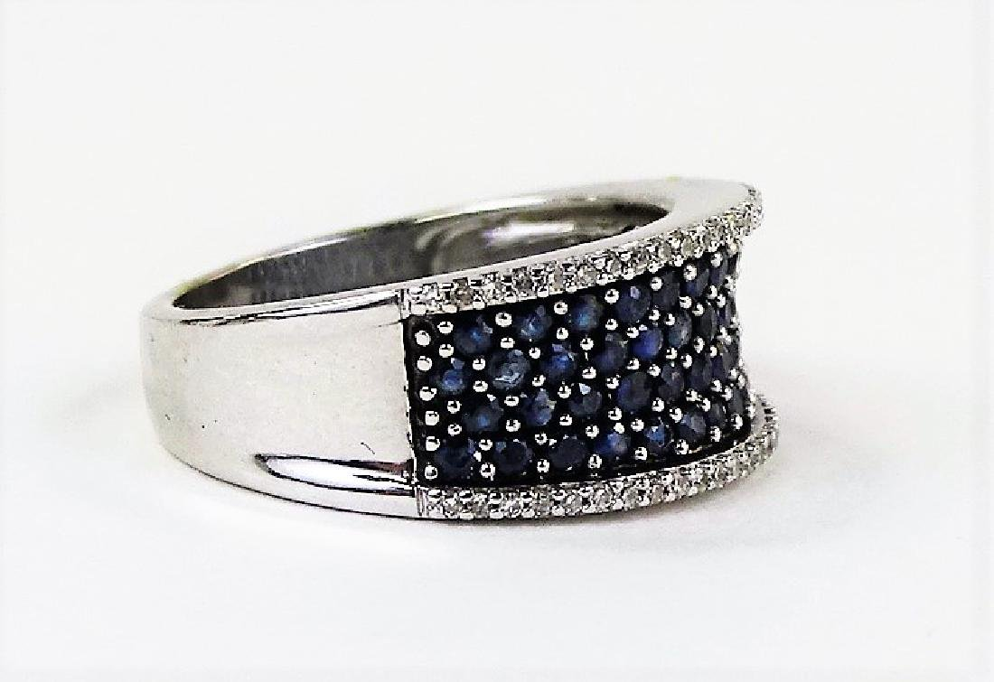 ESTATE 14KT WHITE GOLD DIAMOND & SAPPHIRE BAND - 2