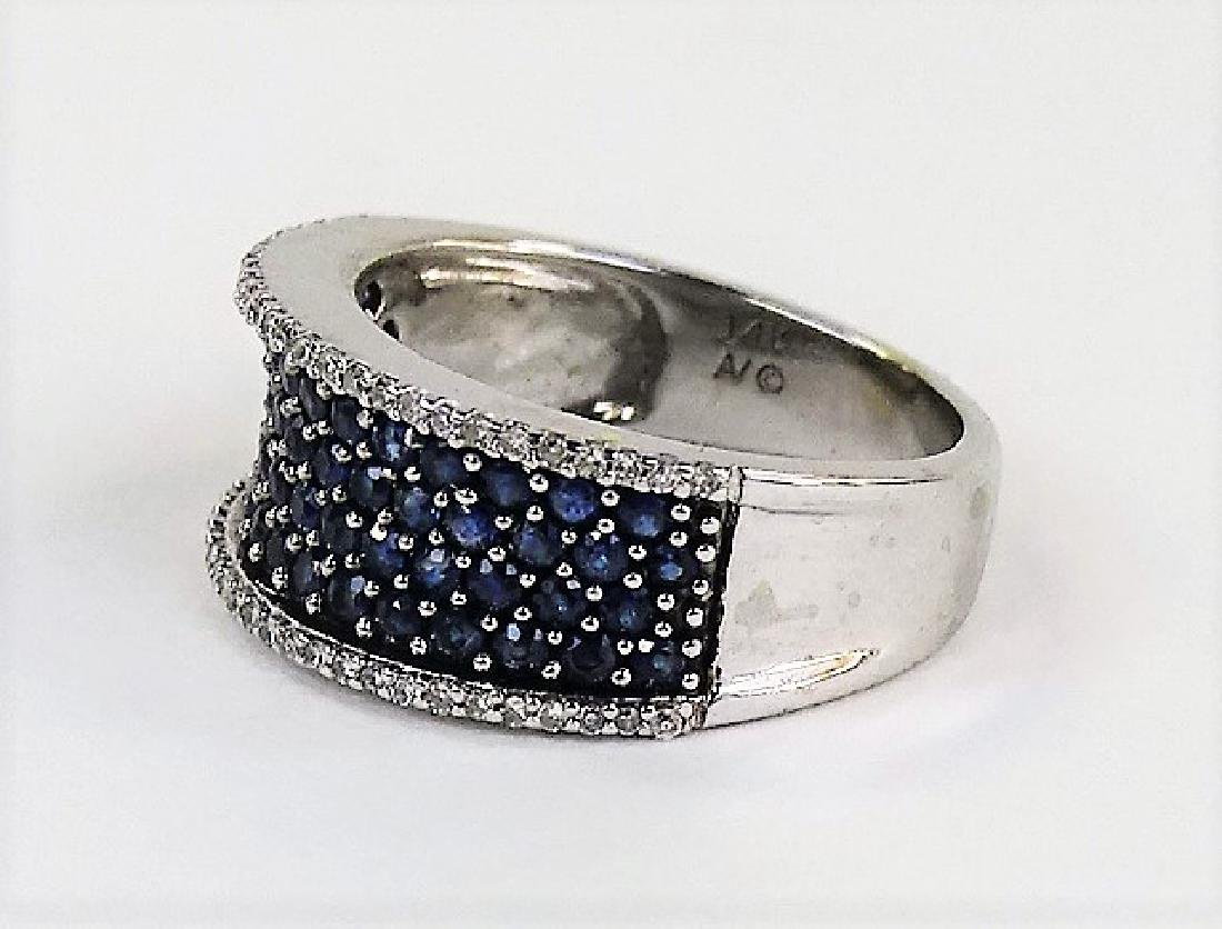 ESTATE 14KT WHITE GOLD DIAMOND & SAPPHIRE BAND - 3