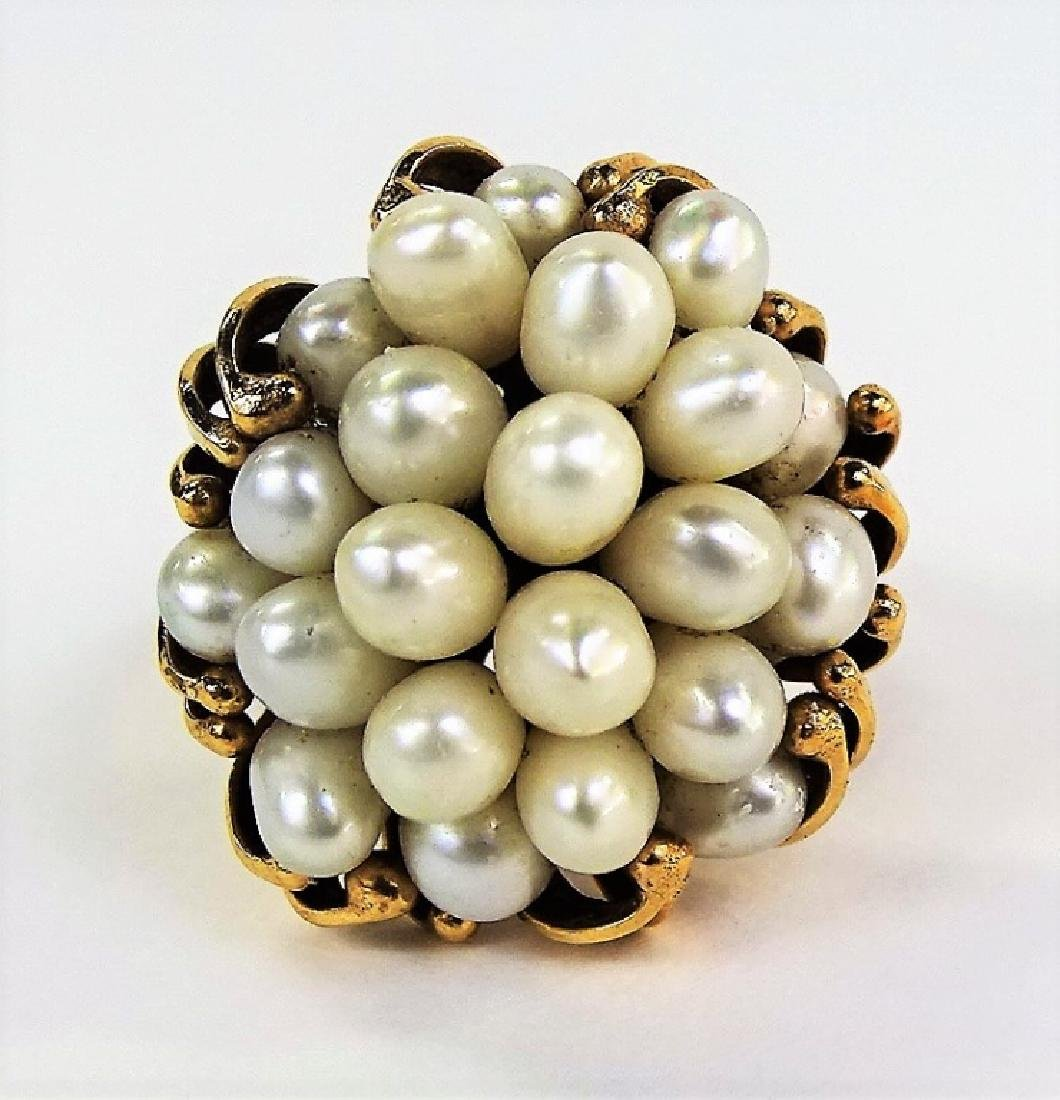 HEAVY LARGE 14KT YELLOW GOLD & MULTI PEARL RING