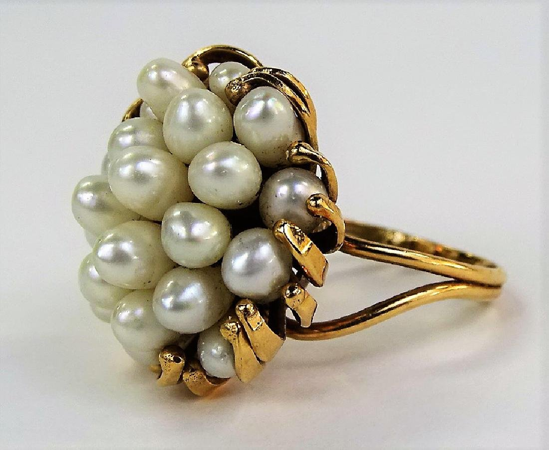 HEAVY LARGE 14KT YELLOW GOLD & MULTI PEARL RING - 2