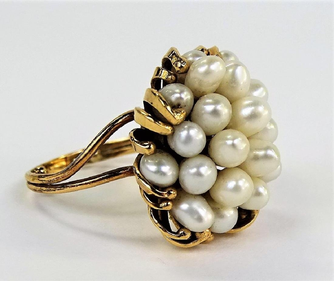 HEAVY LARGE 14KT YELLOW GOLD & MULTI PEARL RING - 3