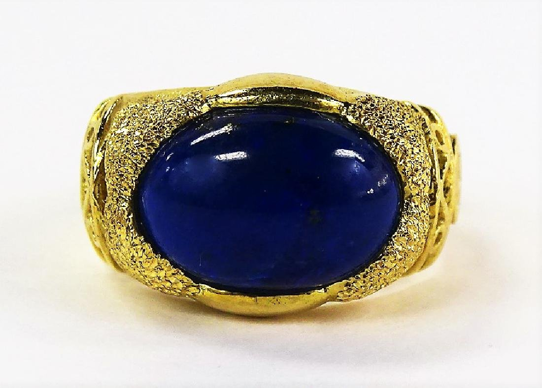 ESTATE 14KT YELLOW GOLD & LAPIS LAZULI LADIES RING