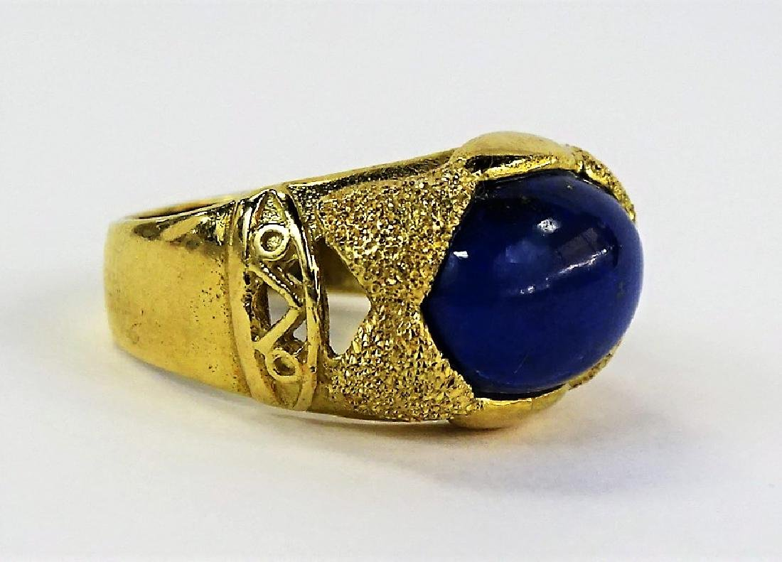 ESTATE 14KT YELLOW GOLD & LAPIS LAZULI LADIES RING - 2