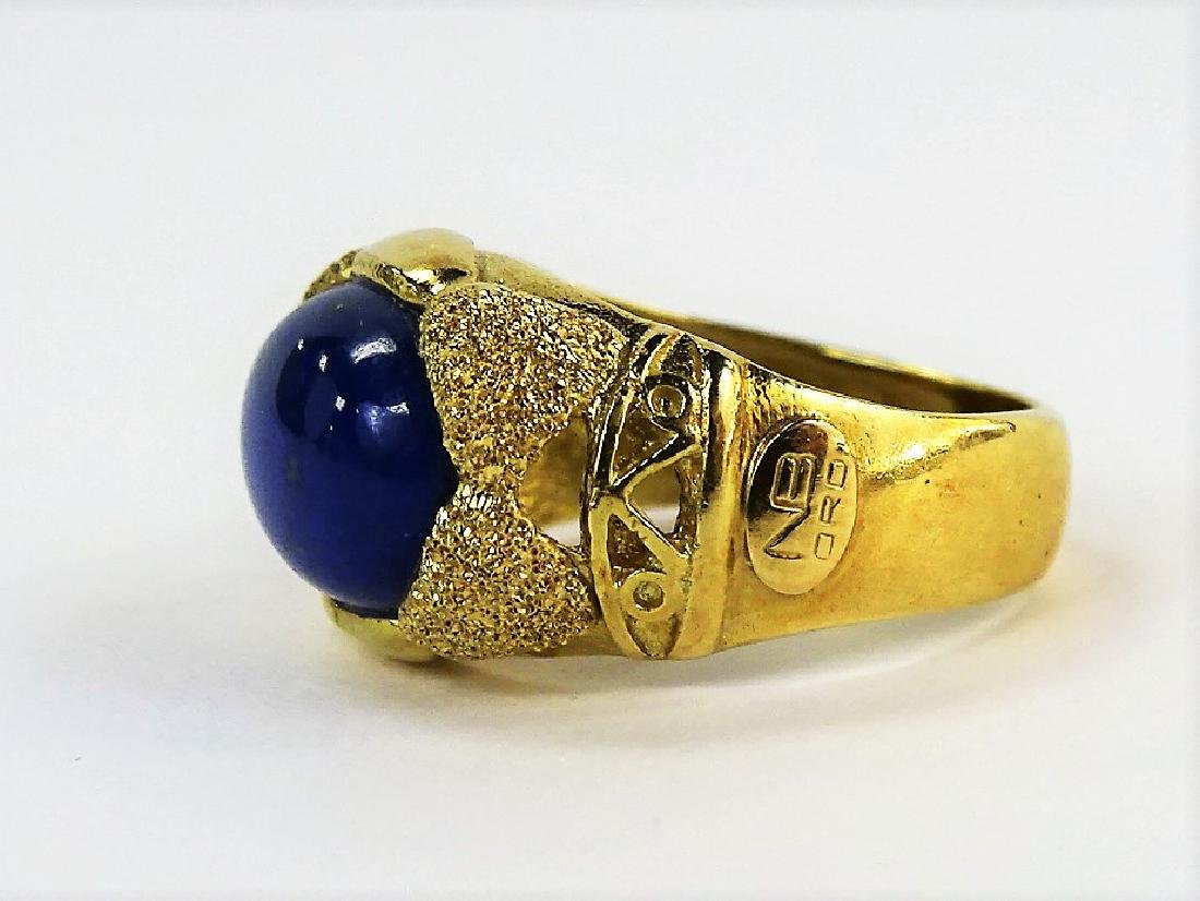 ESTATE 14KT YELLOW GOLD & LAPIS LAZULI LADIES RING - 3