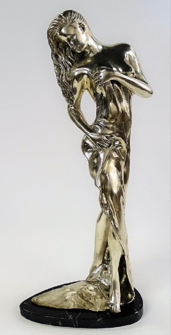 CONTEMPORARY SILVERED BRONZE SCULPTURE OF NUDE
