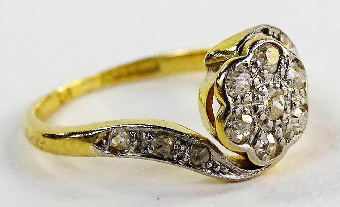 LADIES 18KT YELLOW GOLD DIAMOND FLOWER RING - 3
