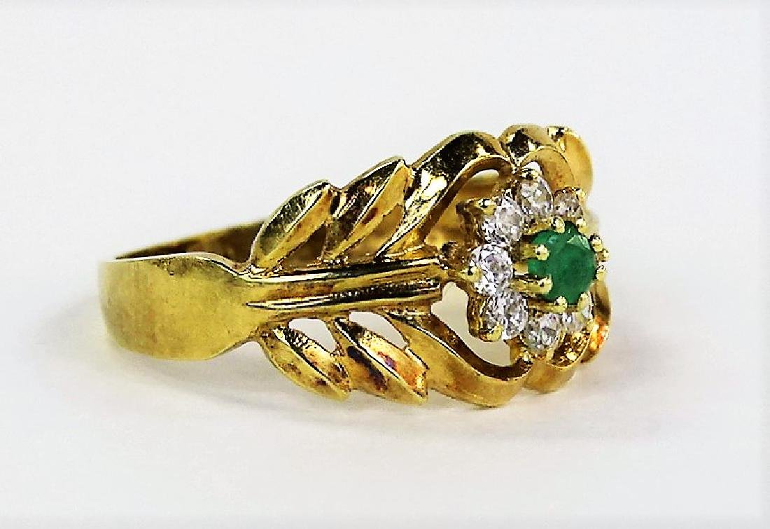 LADIES 14KT YELLOW GOLD EMERALD & DIAMOND RING - 2