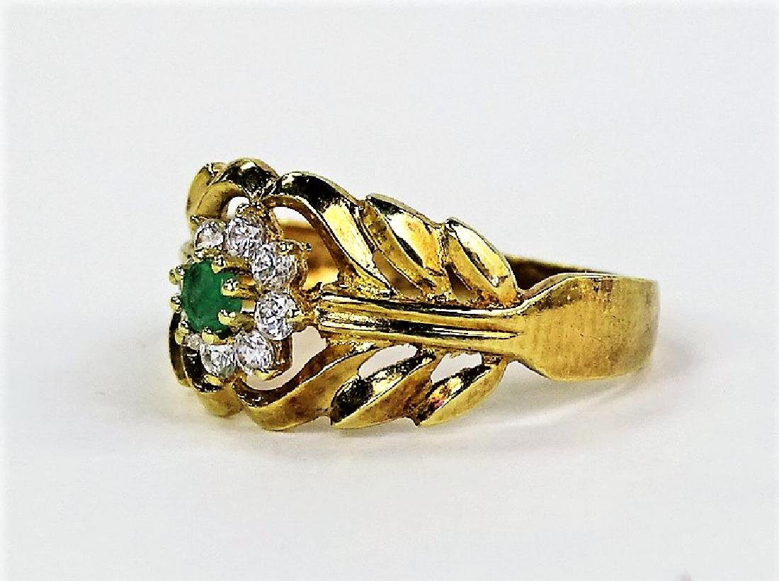 LADIES 14KT YELLOW GOLD EMERALD & DIAMOND RING - 3