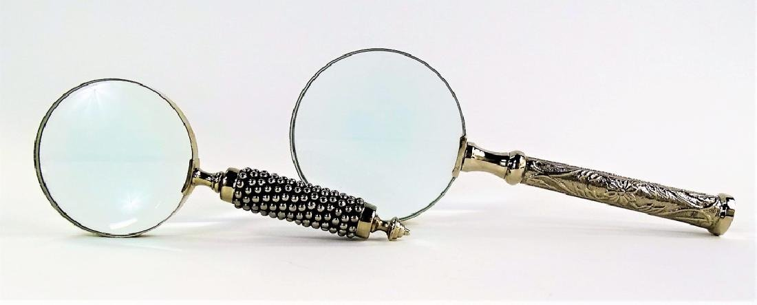 2 LARGE SILVER HANDLED MAGNIFYING GLASSES