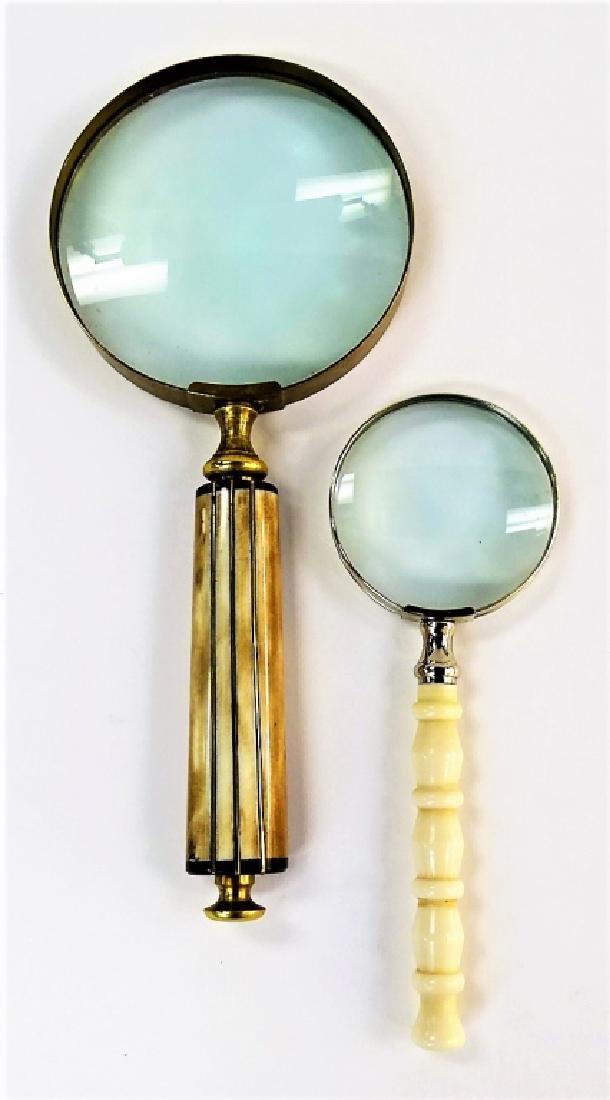 2 LARGE CARVED BONE HANDLE MAGNIFYING GLASSES - 2