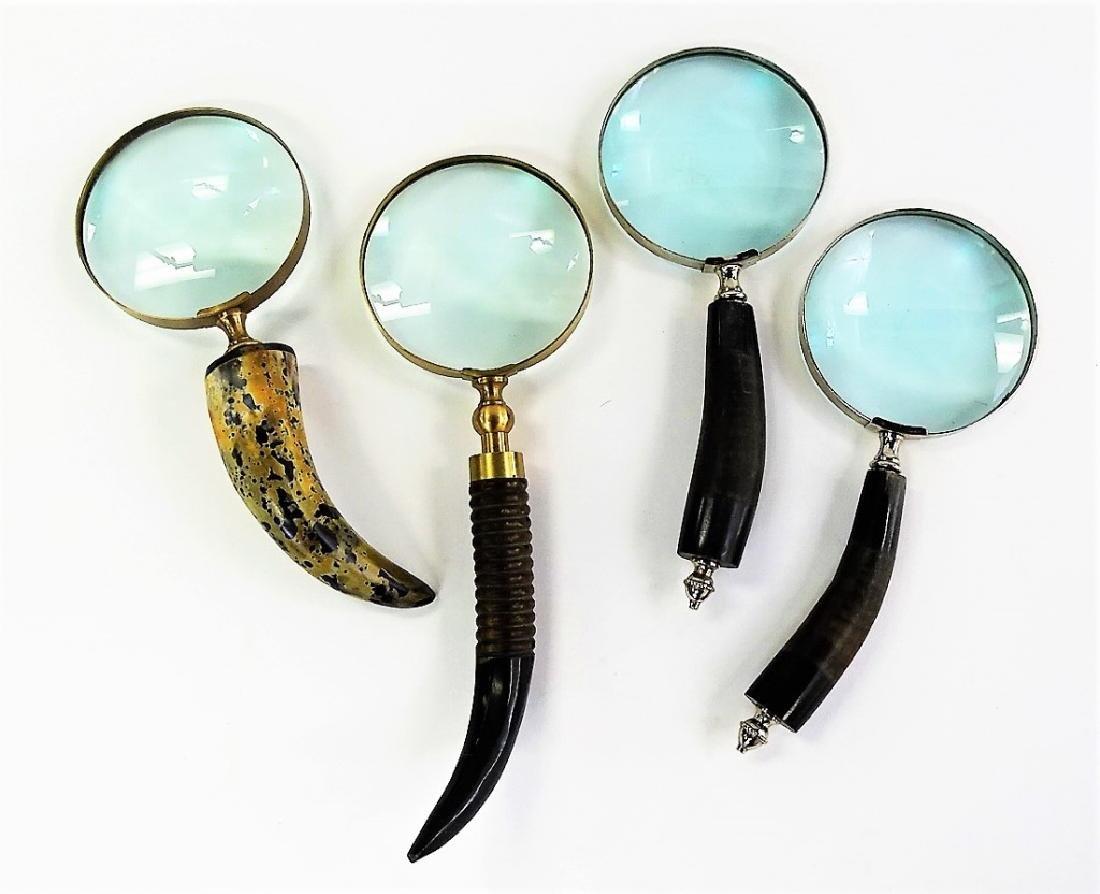 4 LARGE CARVED HORN HANDLE MAGNIFYING GLASSES