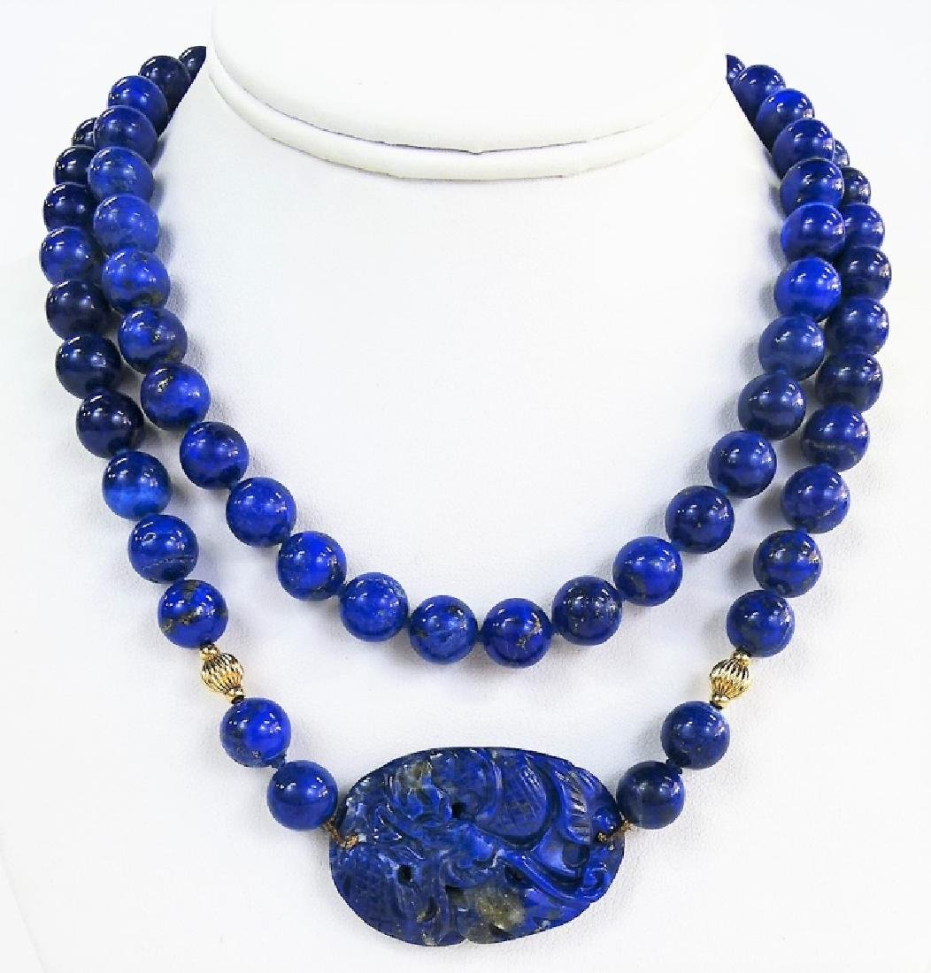 VTG CHINESE CARVED LAPIS LAZULI BEADED NECKLACE