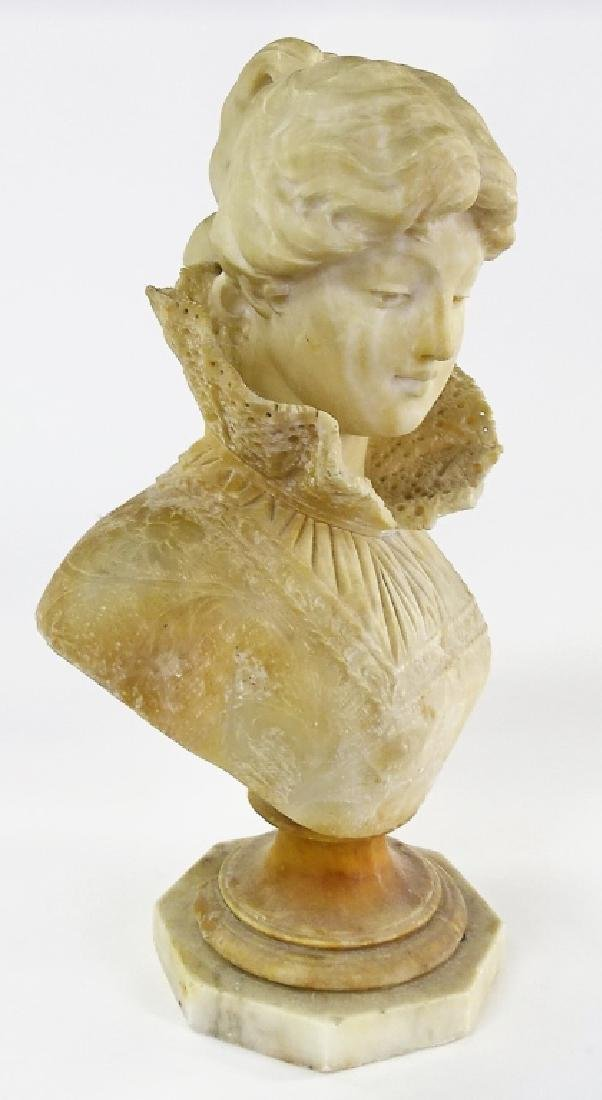 LARGE CARVED ALLABASTER BUST VICTORIAN WOMAN