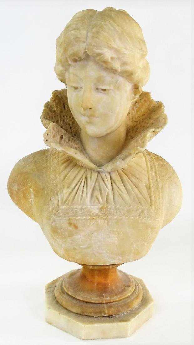 LARGE CARVED ALLABASTER BUST VICTORIAN WOMAN - 2