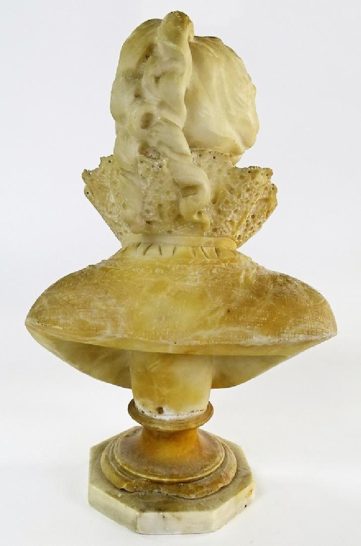 LARGE CARVED ALLABASTER BUST VICTORIAN WOMAN - 3