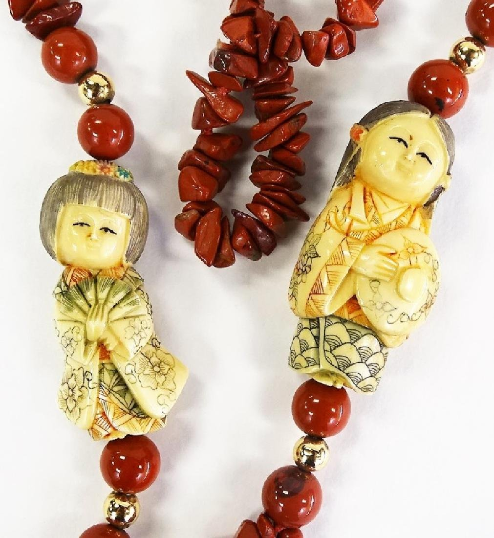 CHINESE CORAL AND CARVED NETSUKIE LARGE NECKLACE - 2