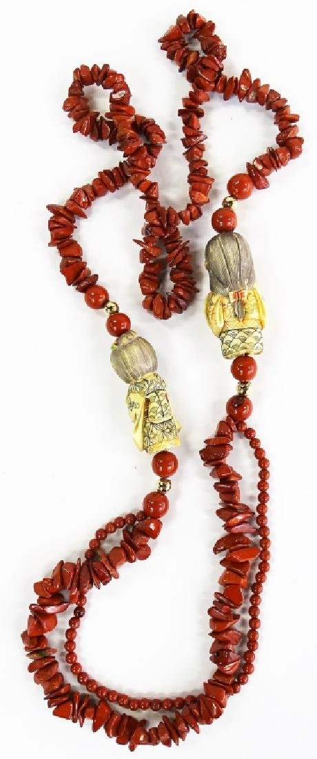 CHINESE CORAL AND CARVED NETSUKIE LARGE NECKLACE - 3
