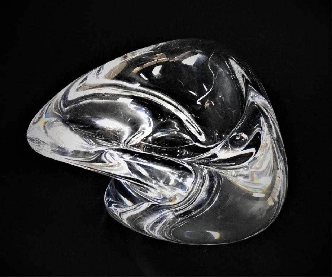 ST. LOUIS SIGNED CLEAR CRYSTAL FREEFORM BOWL - 2