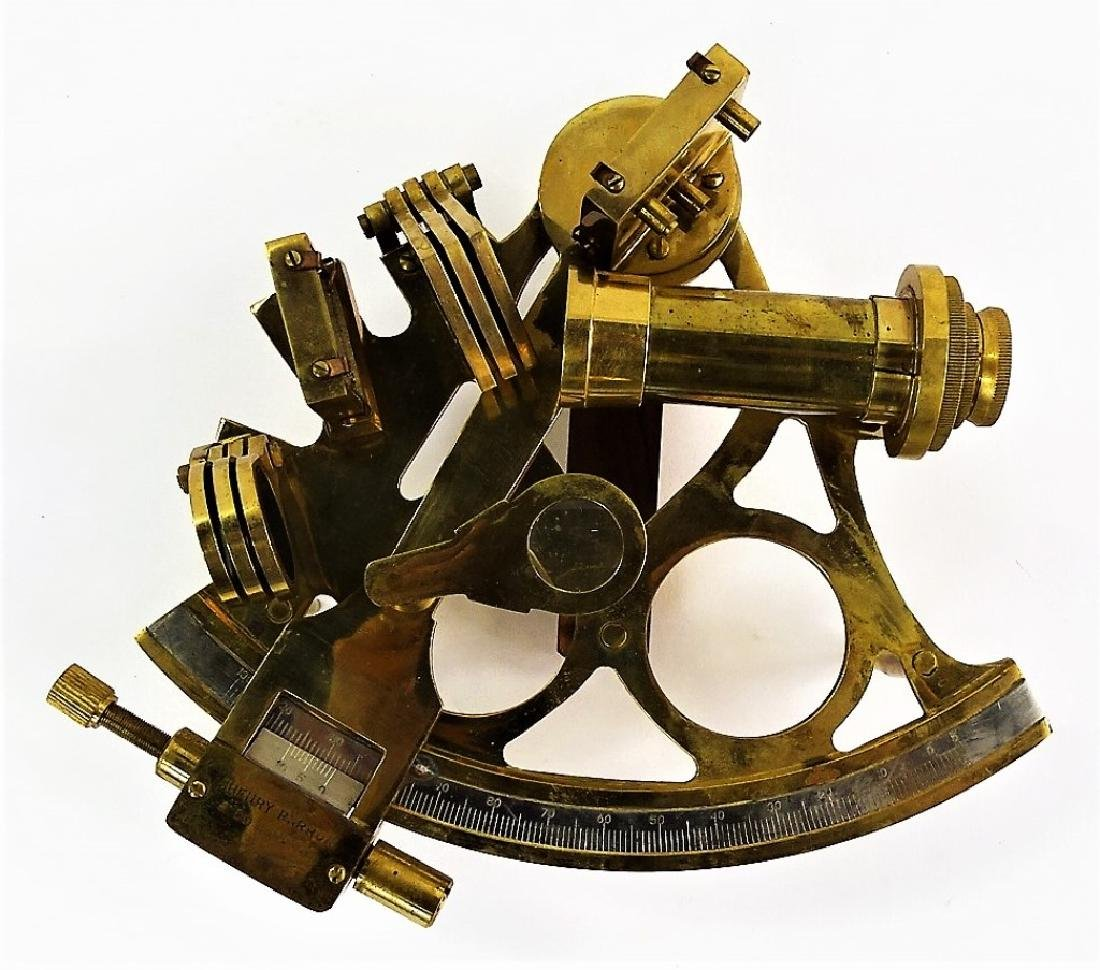 ANTIQUE BRASS HENRY & BARROW CO. NAVAL SEXTANT - 2