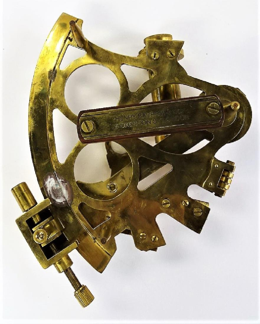 ANTIQUE BRASS HENRY & BARROW CO. NAVAL SEXTANT - 4