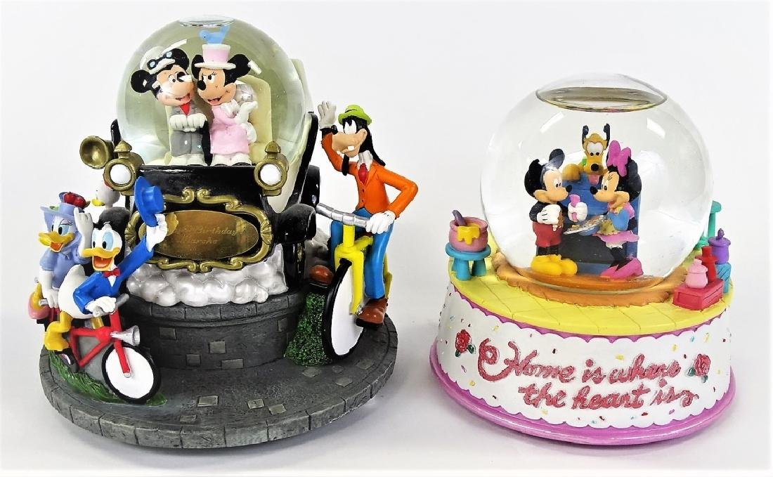 2 LARGE DISNEY MUSICAL GLOBES EXCELLENT CONDITION