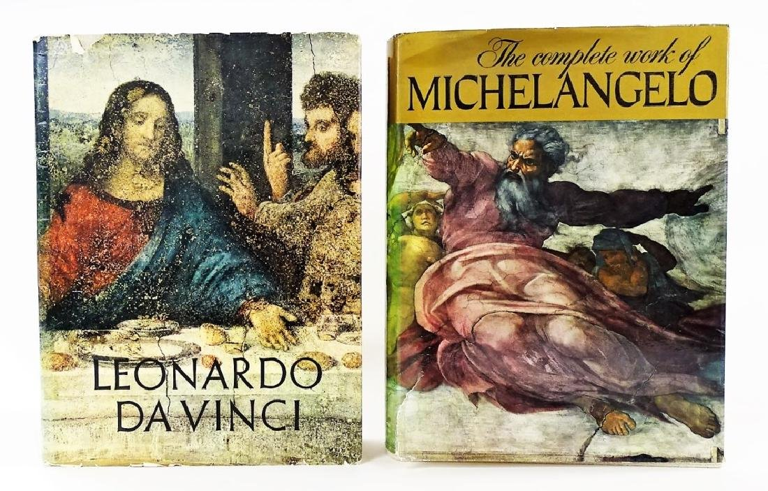 2 LARGE ART BOOKS ILLUSTRATED MICHELANGELO DA VINC