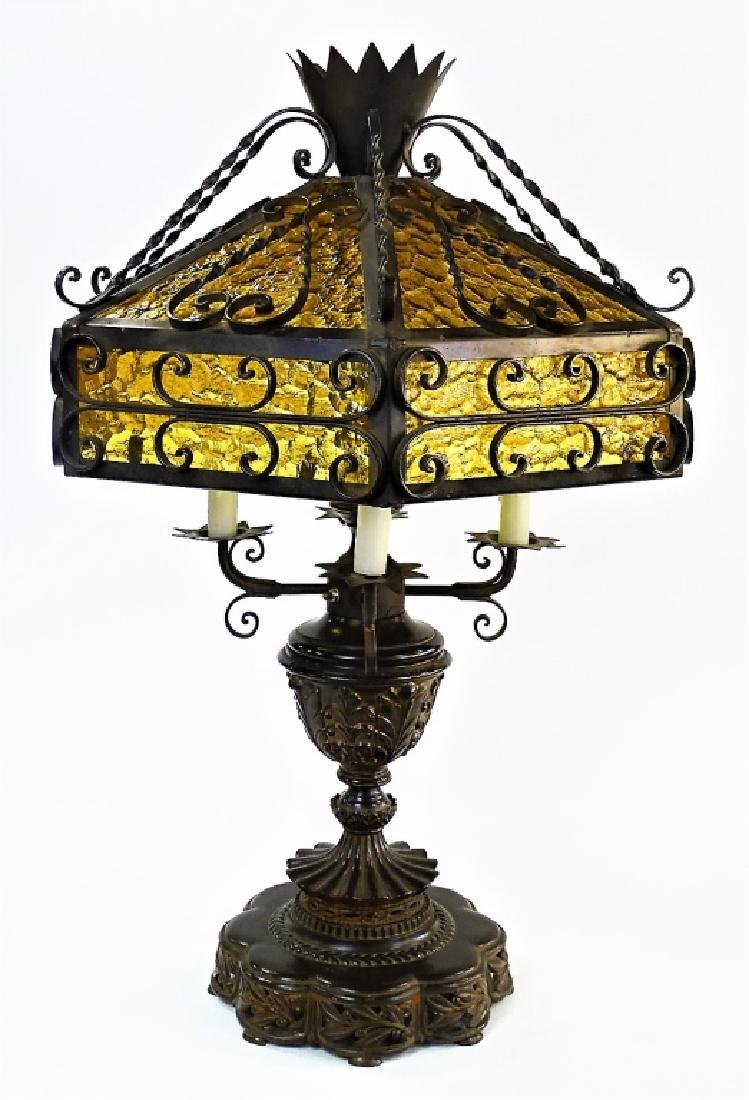ELEGANT ART NOUVEAU WROUGHT IRON TABLE LAMP