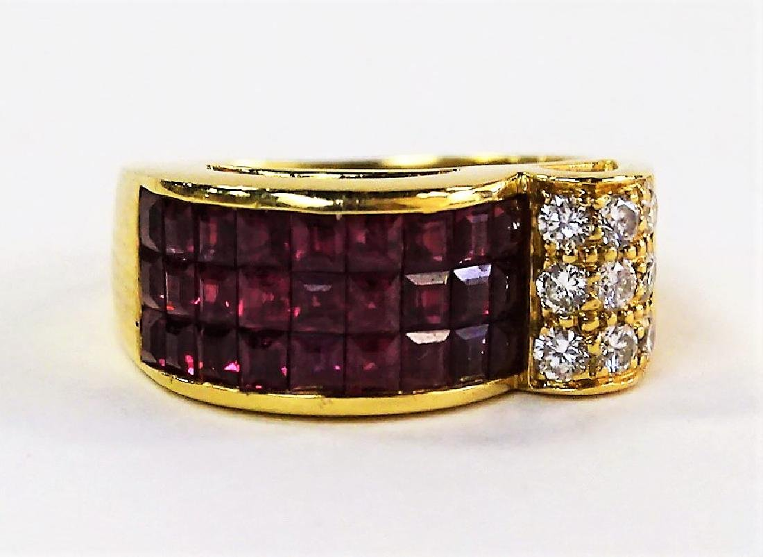 VINTAGE 18KT YELLOW GOLD 3CT RUBY & DIAMOND RING