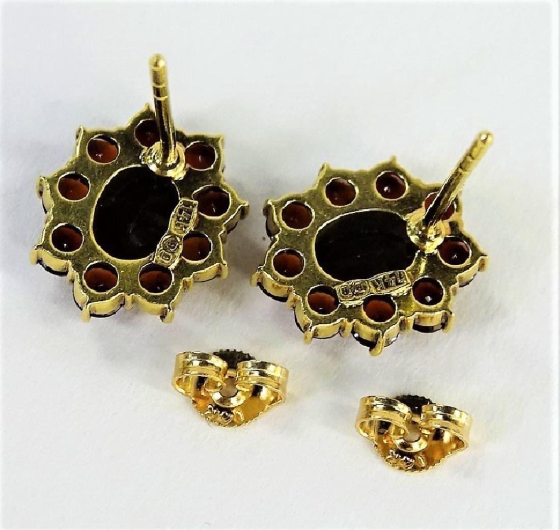 ANTIQUE ESTATE 14KT YELLOW GOLD & GARNET EARRINGS - 2