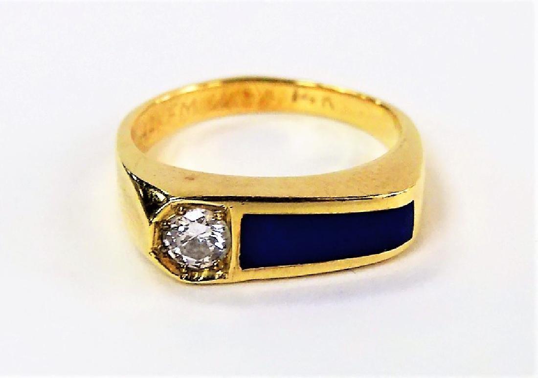 RETRO LADIES 14KT YELLOW GOLD LAPIS & DIAMOND RING