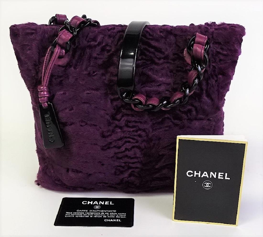 CHANEL PURPLE ASTRAKHAAN FUR SMALL TOTE