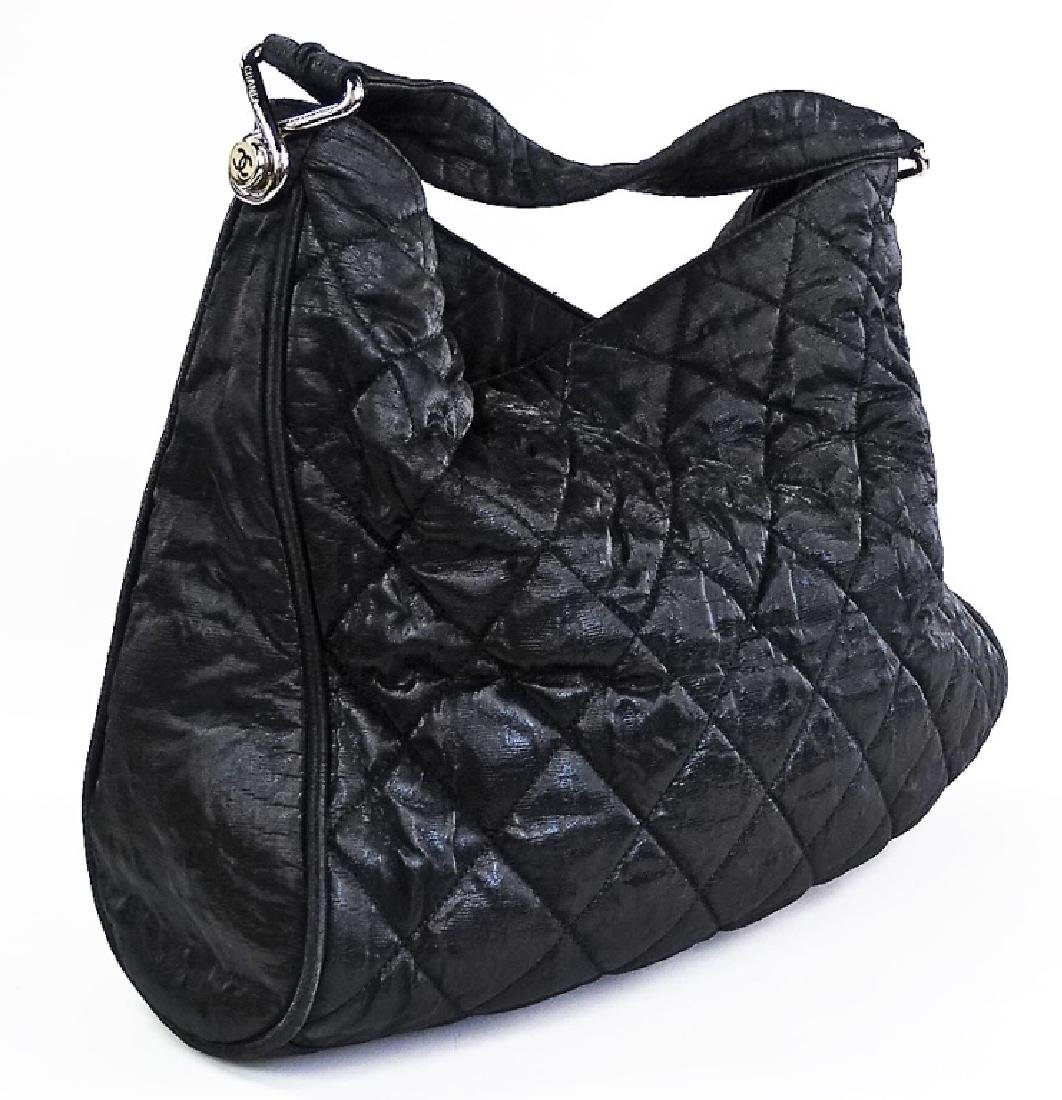 CHANEL QUILTED SHINY LAMBSKIN LEATHER HANDBAG