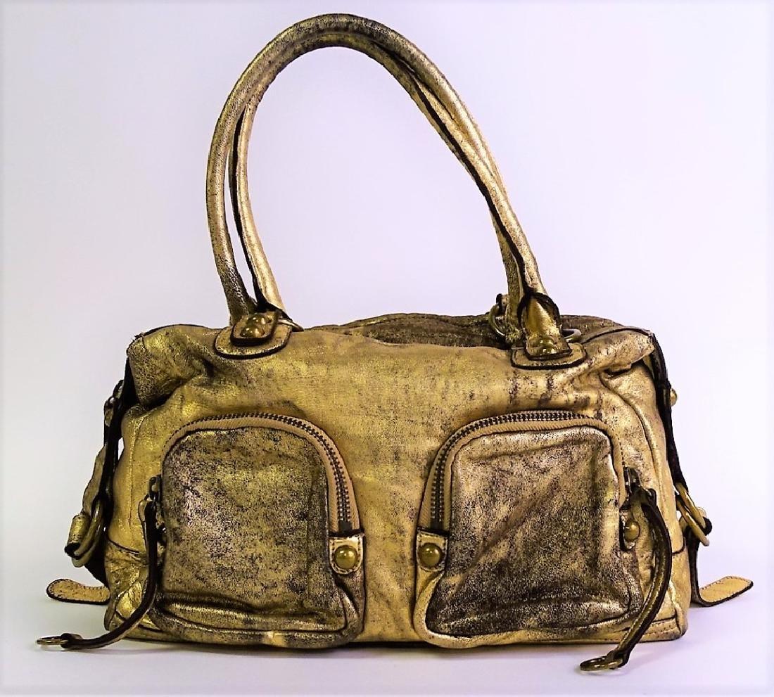 LINEA PELLE BRUSHED GOLD METTALIC HANDBAG