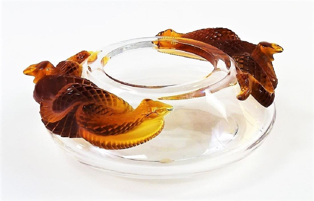 LALIQUE MOLDED & FROSTED CRYSTAL SERPENT BOWL
