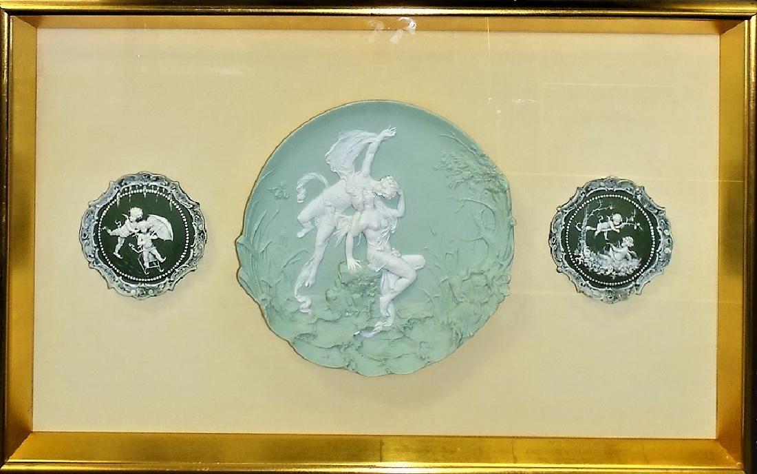 3 FRAMED WEDGWOOD GREEN JASPERWARE WALL PLAQUES
