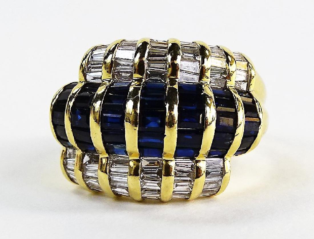 18KT GOLD SAPPHIRE & 1.5CT DIAMOND BAND RING