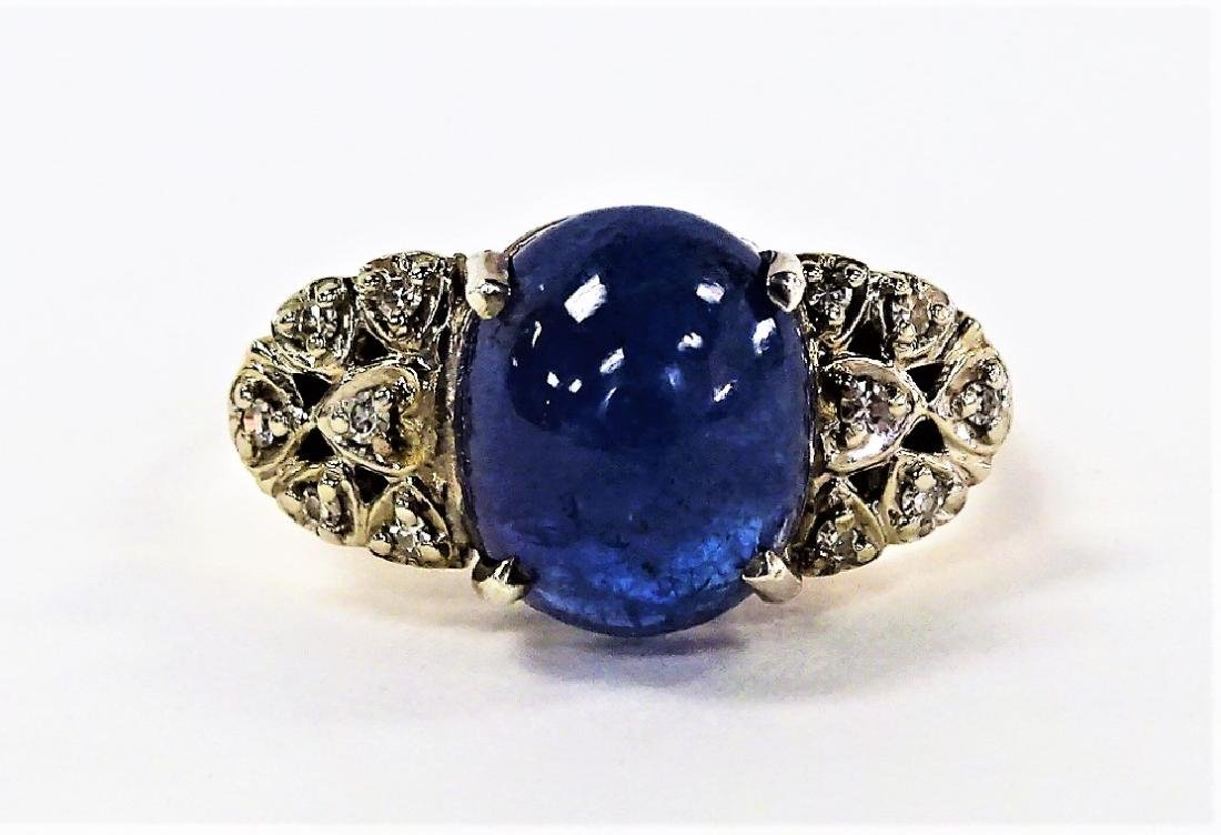 14KT YELLOW GOLD STAR SAPPHIRE & DIAMOND RING