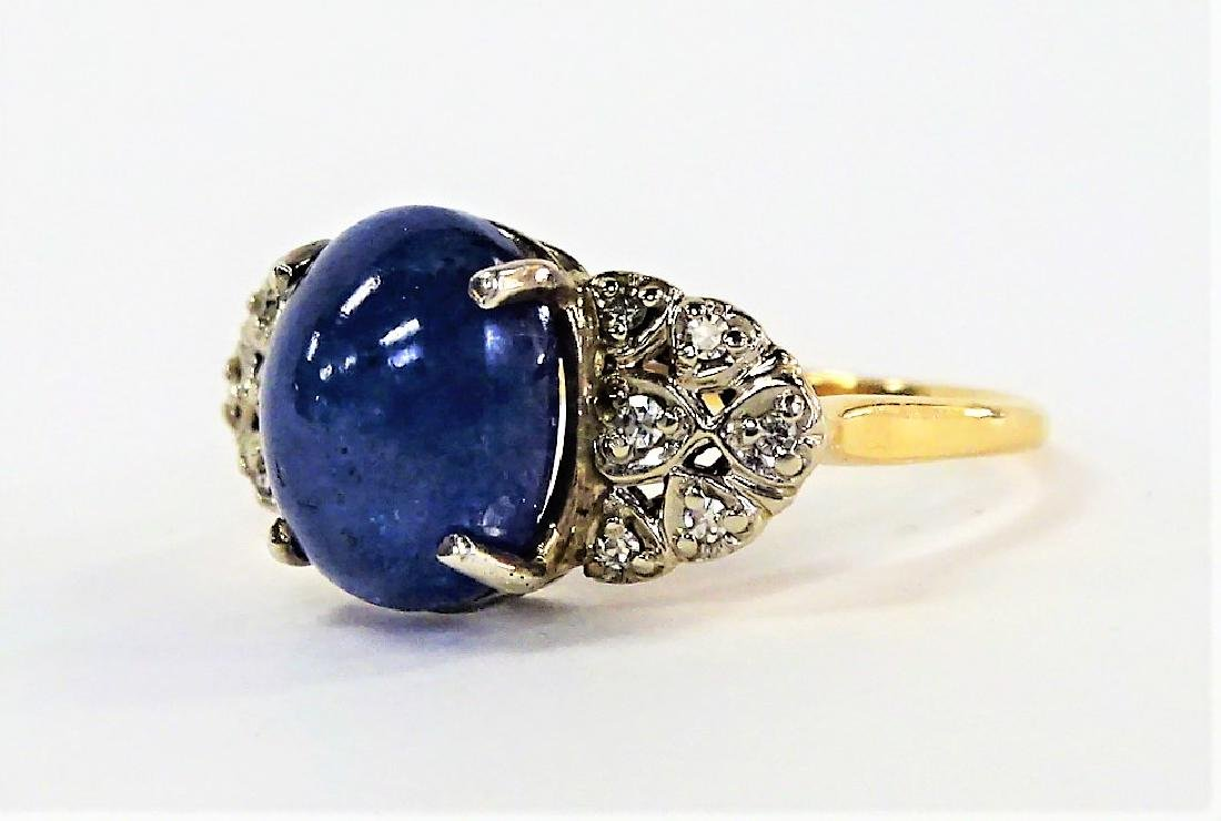 14KT YELLOW GOLD STAR SAPPHIRE & DIAMOND RING - 3