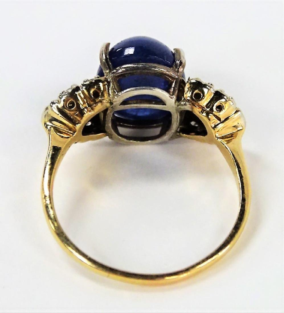 14KT YELLOW GOLD STAR SAPPHIRE & DIAMOND RING - 4