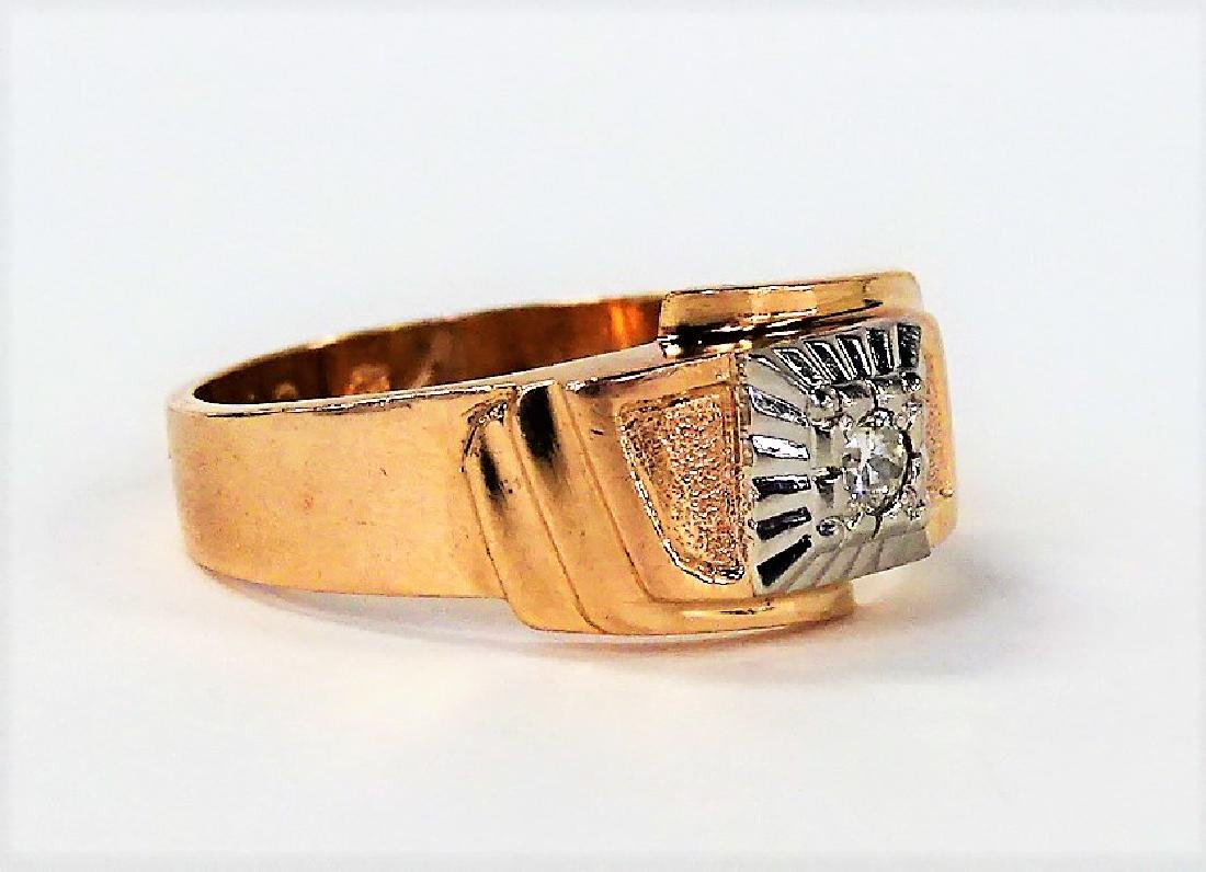 RETRO GENTS 14KT ROSE GOLD DIAMOND RING - 2